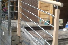 Garde corps escalier piscine acier bois Annecy